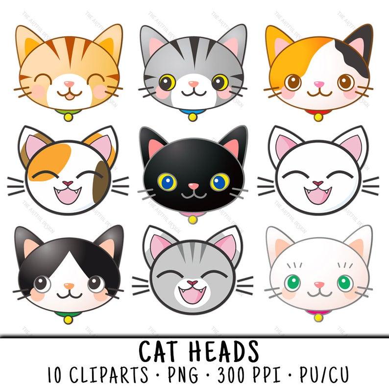 Cute Cat Clipart, Cat Head Clipart, Cute Cat Clip Art, Cat Head Clip Art,  Cat Head PNG, Cute Cat PNG, Clipart Cat Head, Clipart Cute Cat.