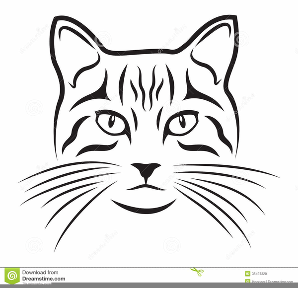 Black and White Cat Head Logo.