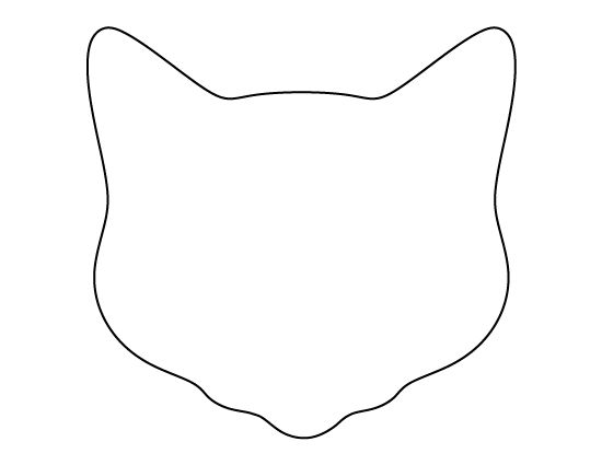Cat Face Silhouette Outline.
