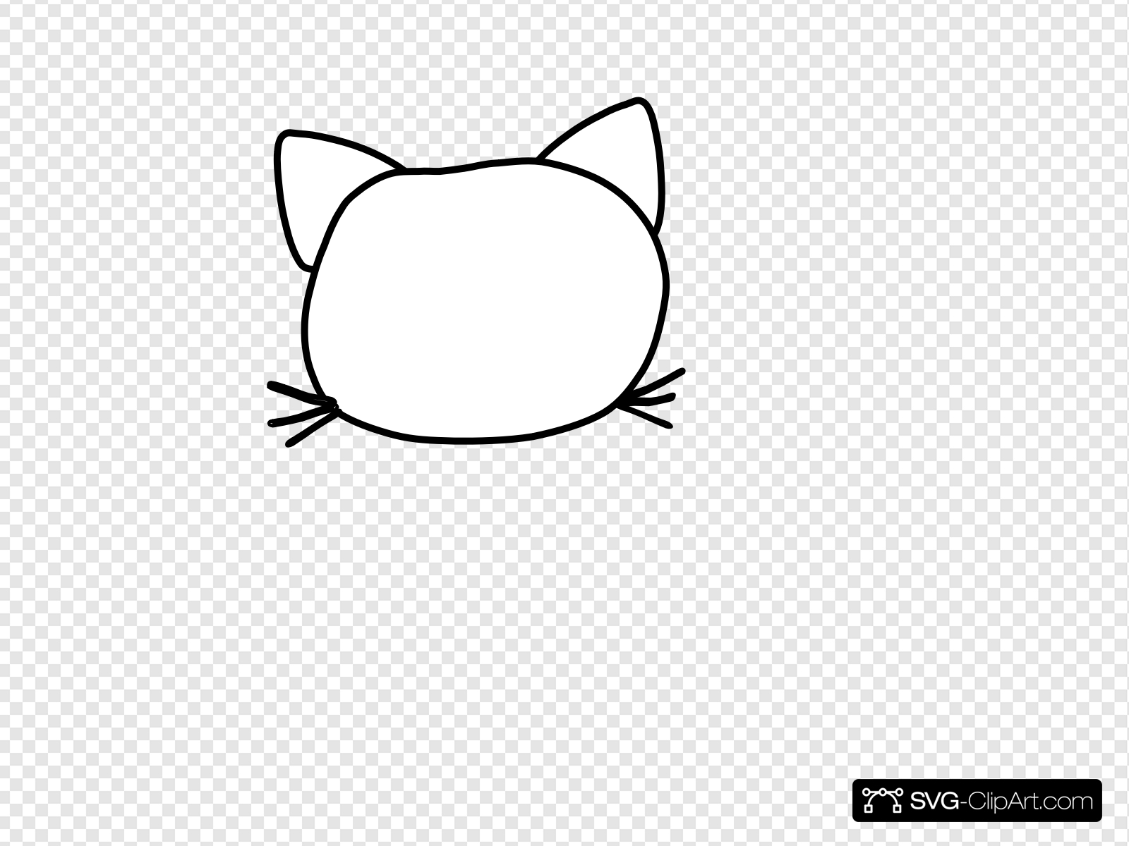 Cat Head Outline Clip art, Icon and SVG.