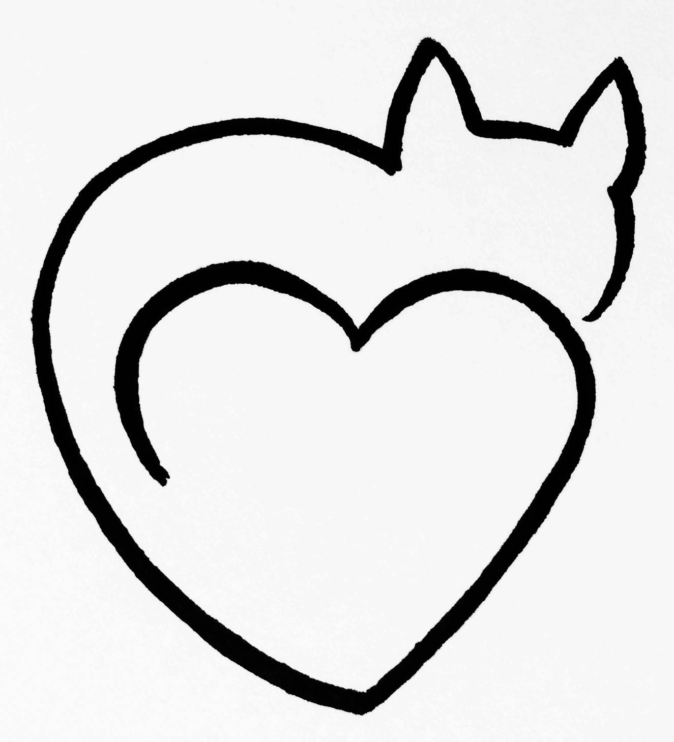 Cat Heart Clipart Black And White One Line Art By Minh Tan.