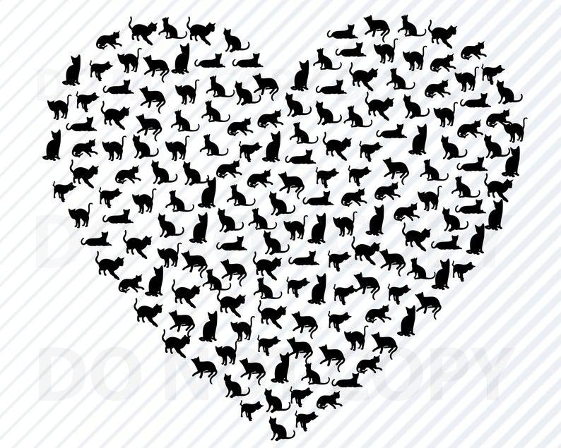 Cat Heart SVG File fCricut.