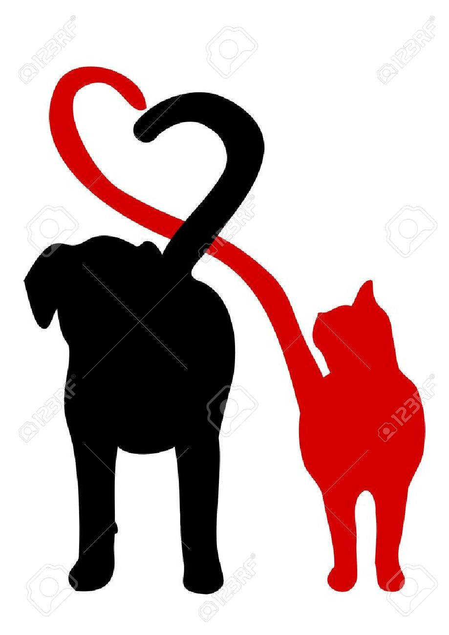 Dog and cat silhouette making a heart in the tail.