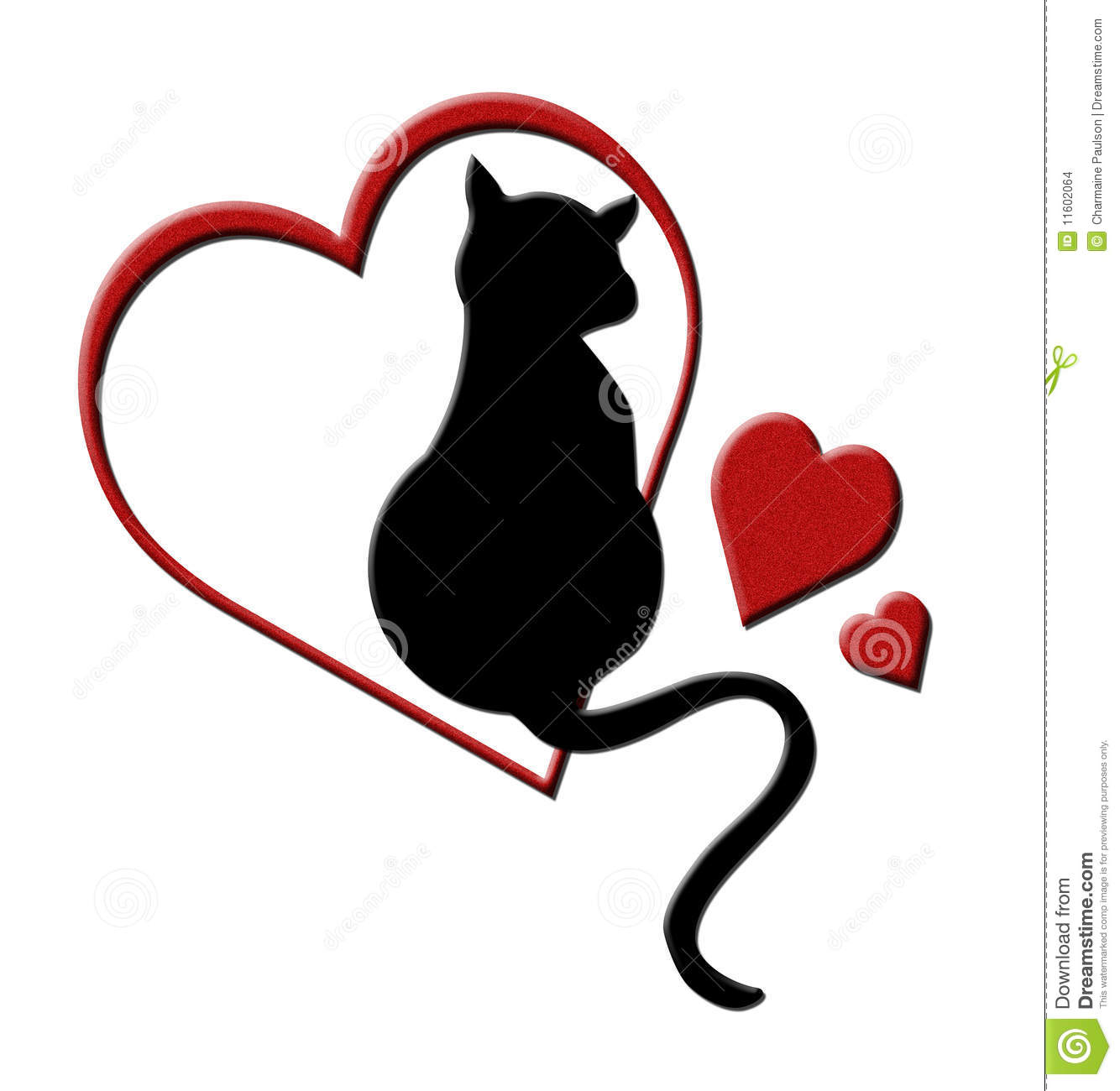 Cat in Hearts stock illustration. Illustration of hearts.