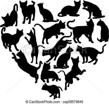 Cat Heart Silhouette Concept.