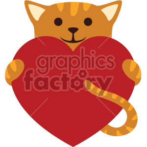 cat holding big heart no background clipart. Royalty.