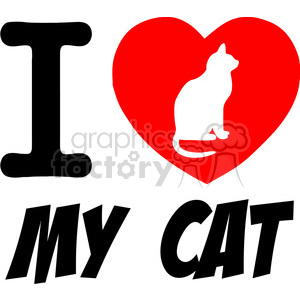 I Love My Cat Text With Red Heart clipart. Royalty.
