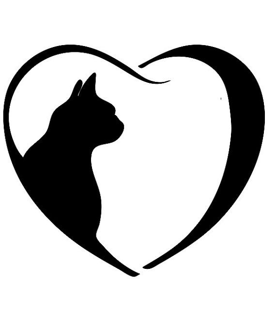 Book folding pattern of Cat inside heart. FREE by BookArtCo.