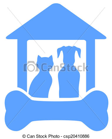 Vector of dog and cat on home with bone silhouette.