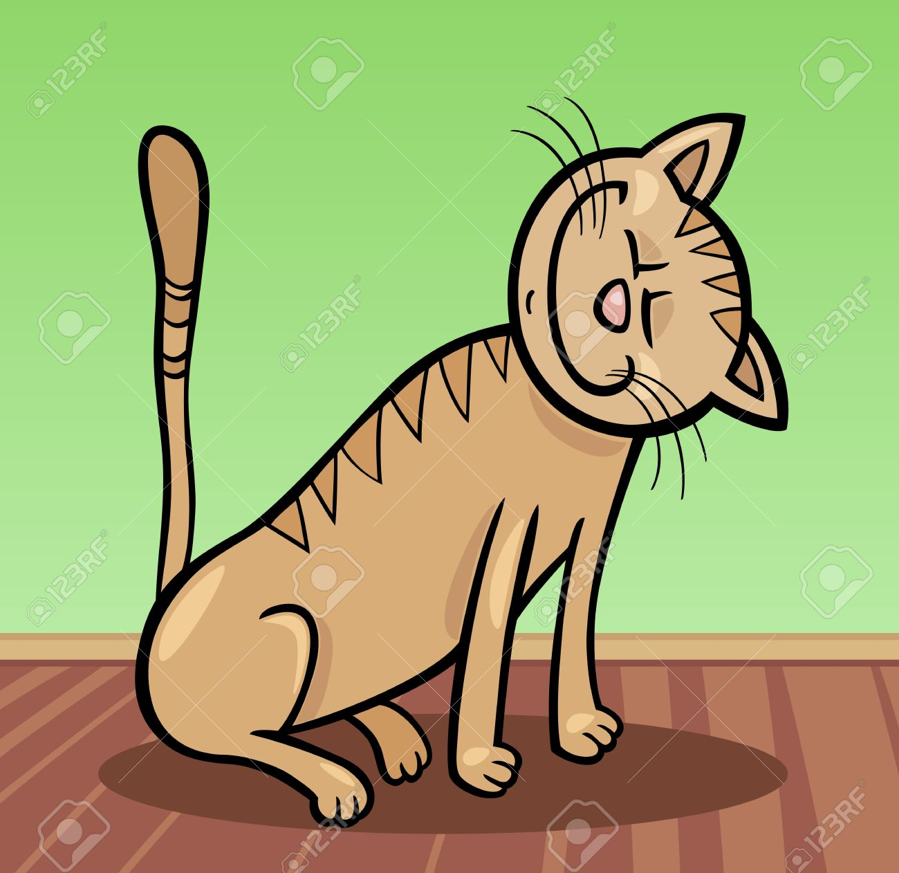 Cartoon Illustration Of Happy Beige Tabby Cat At Home Royalty Free.