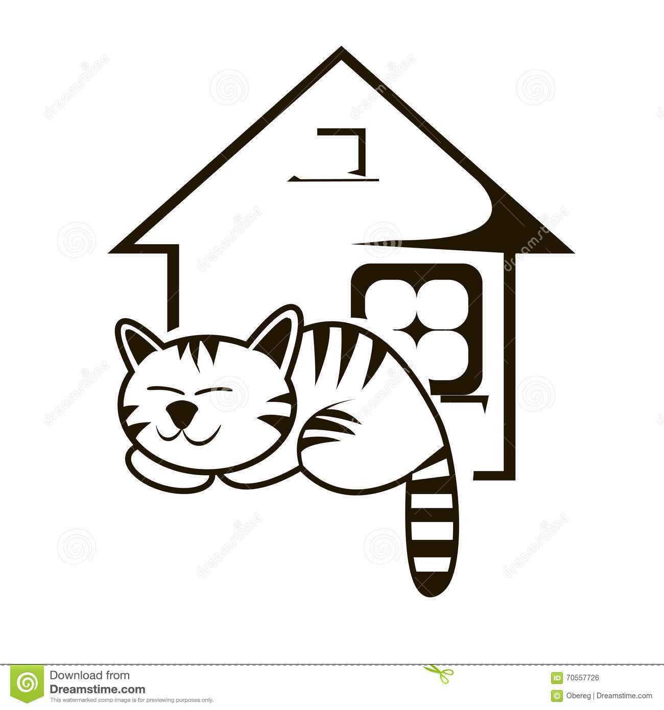Cute Cat Logo Cat Shelter Emblem Pet Stock Illustrations.