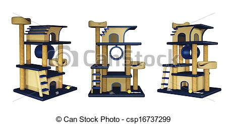 Stock Illustration of Cat tree, house with ladder.