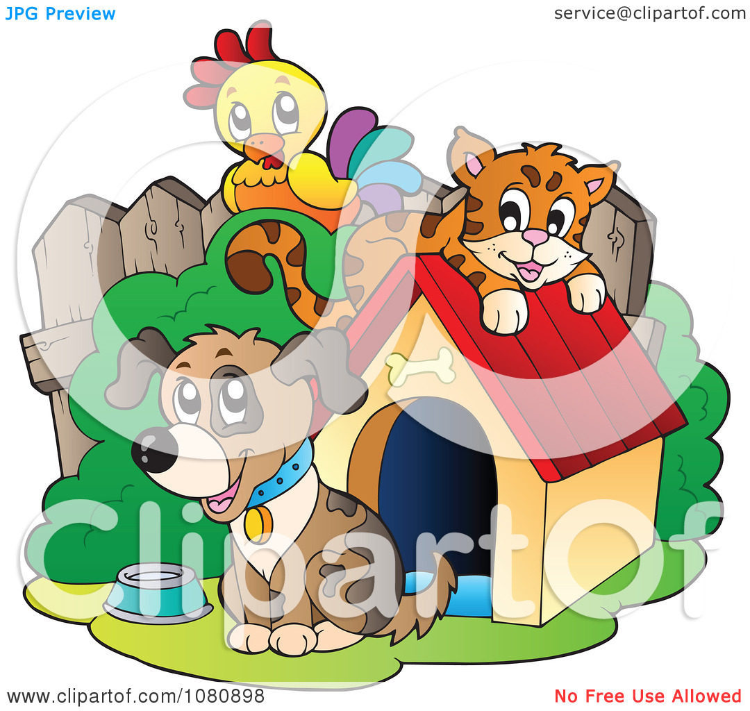 Clipart Parrot And Orange Cat By A Dog And House.