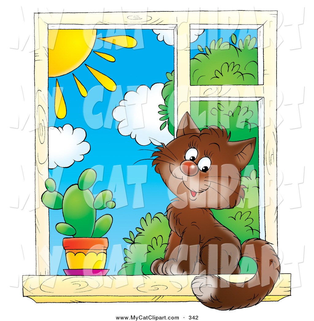 Cat In Window Clipart.