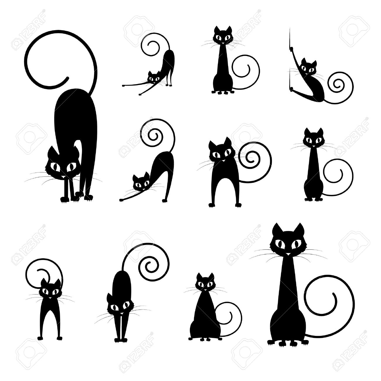 black cat silhouette collections, cartoon cat black and white,...