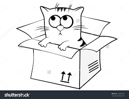 Image result for clipart black and white+box+cat.