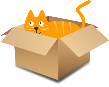 Cat Inside The Box Clipart.