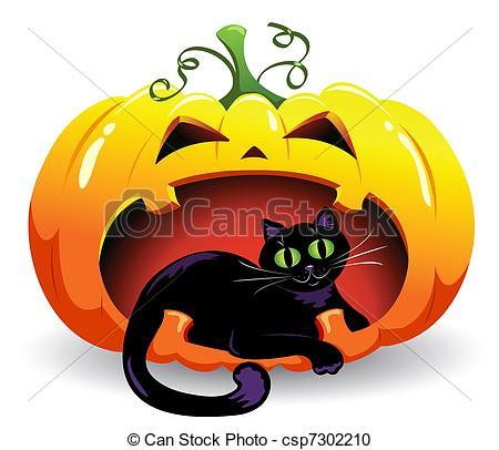 Clipart of Black Cat in Pumpkin.