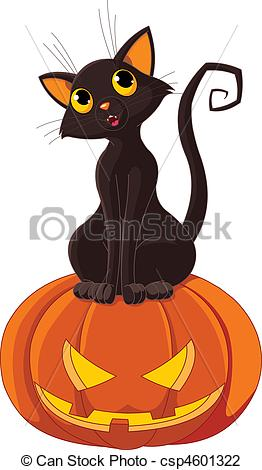 Vector Illustration of Halloween Cat on pumpkin.