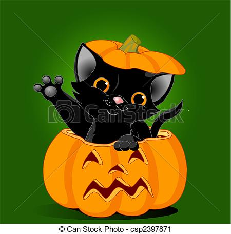 Vector Clip Art of Cat in pumpkin.