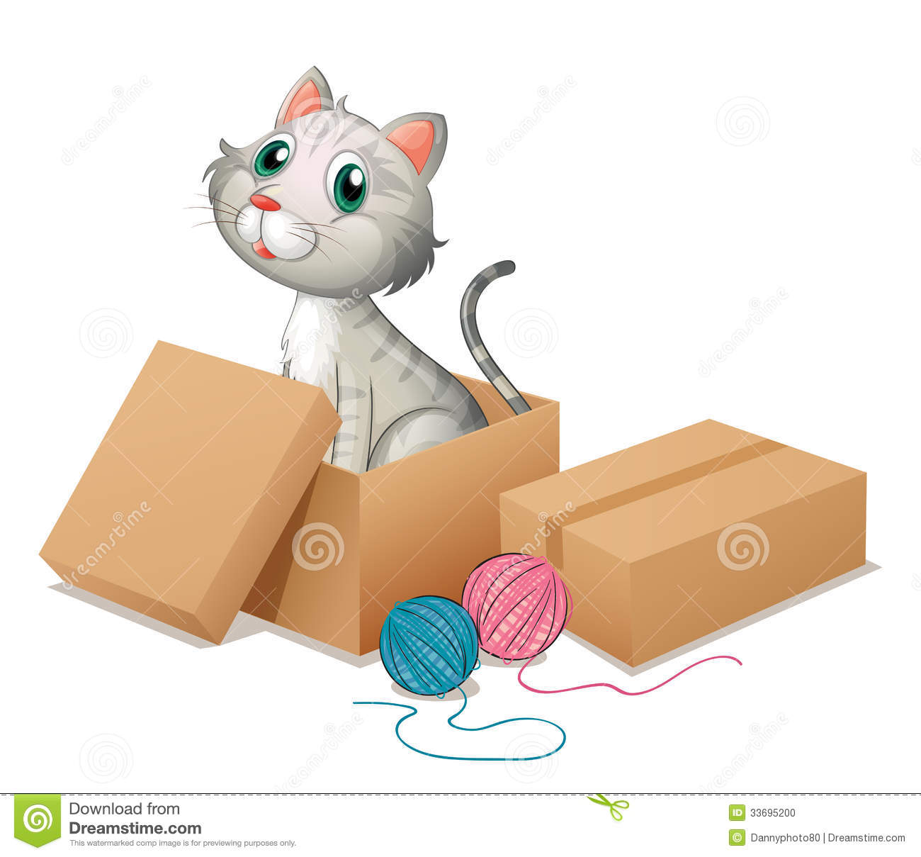 A Cat Inside The Box Stock Photo.