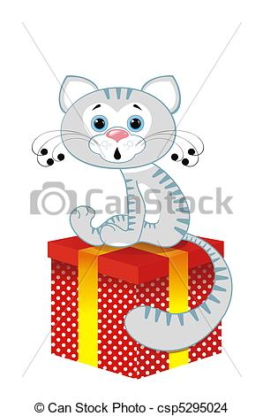 Drawing of Grey cat on a box.