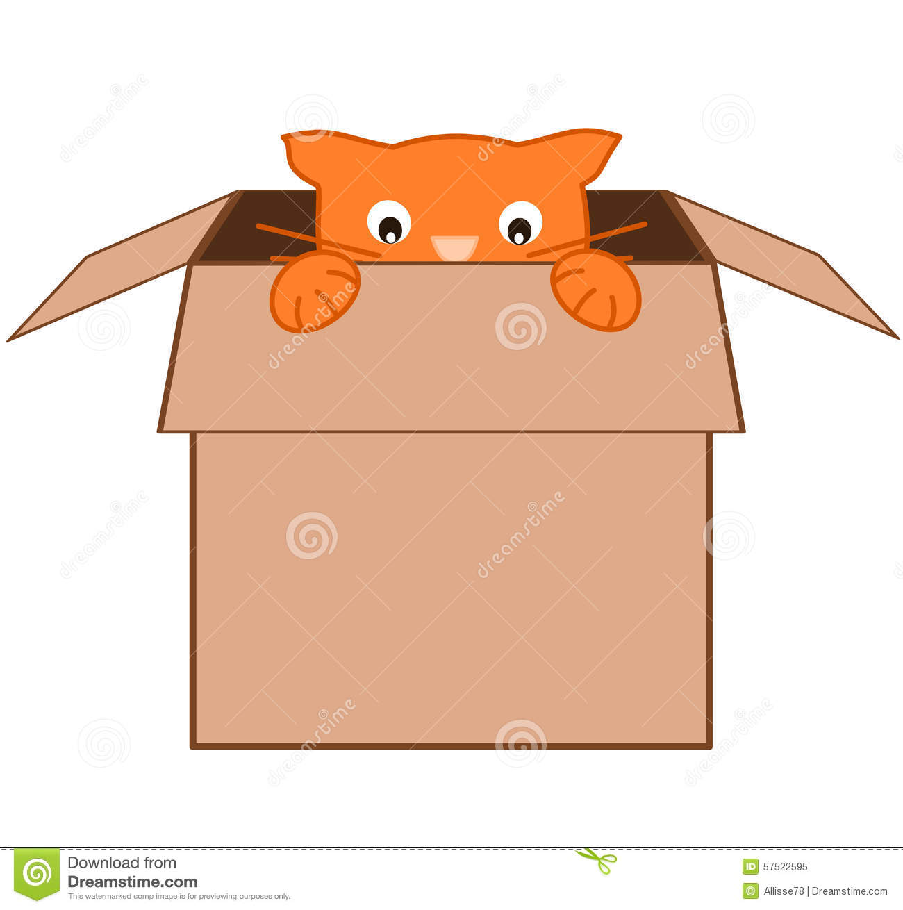 Cat Cardboard Box Stock Illustrations.