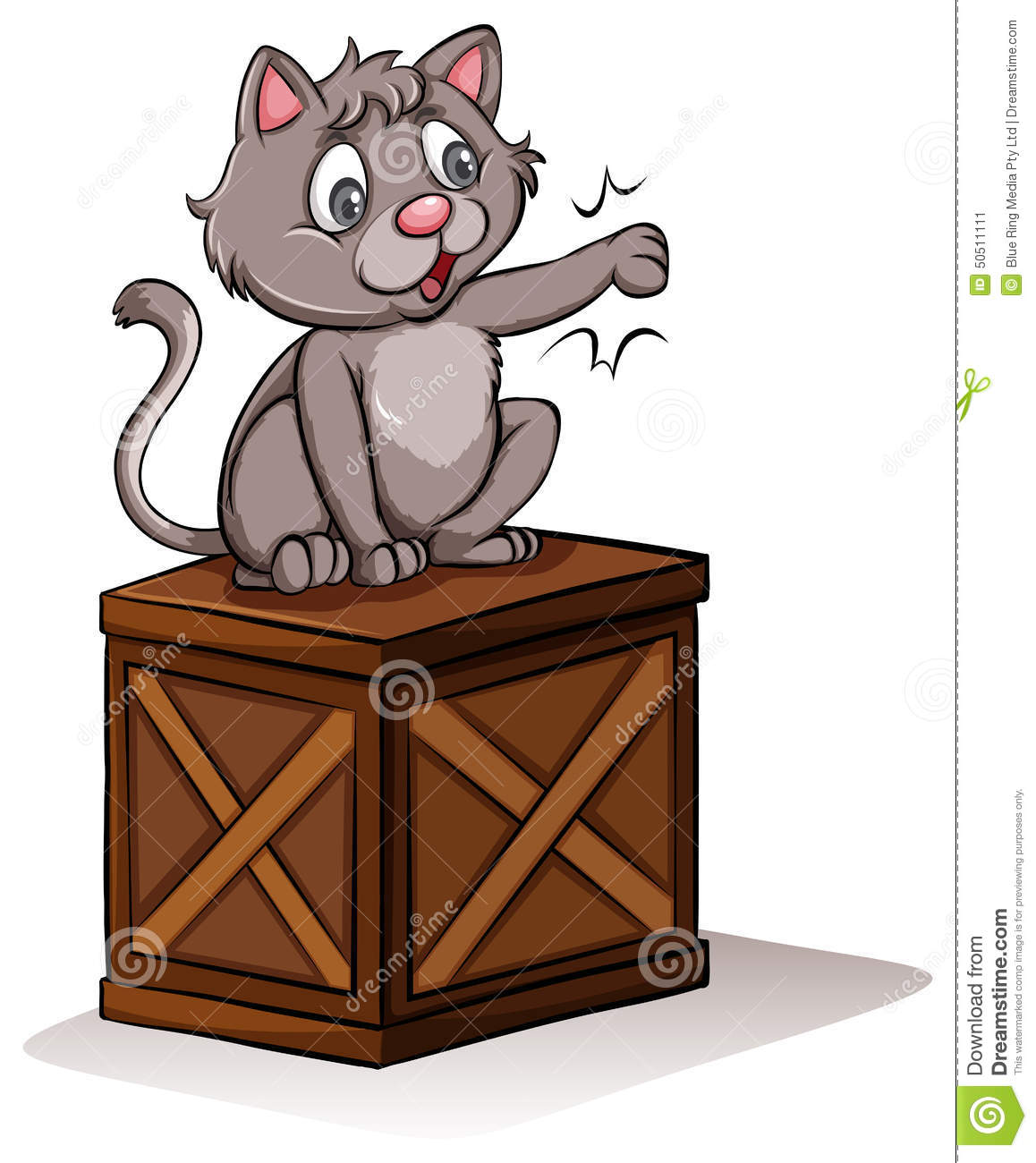 A Cat Above The Box Stock Vector.
