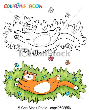 Clipart Vector of Coloring book with red cat on the grass with two.