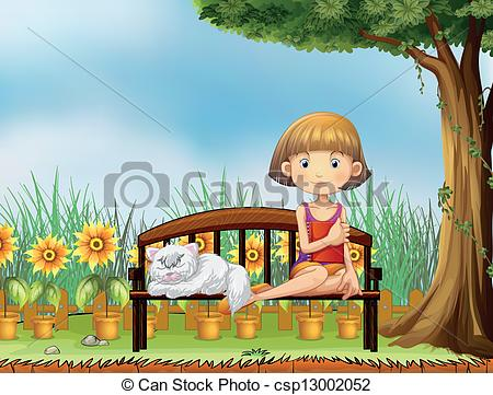 Clipart Vector of A girl with a cat in the garden.