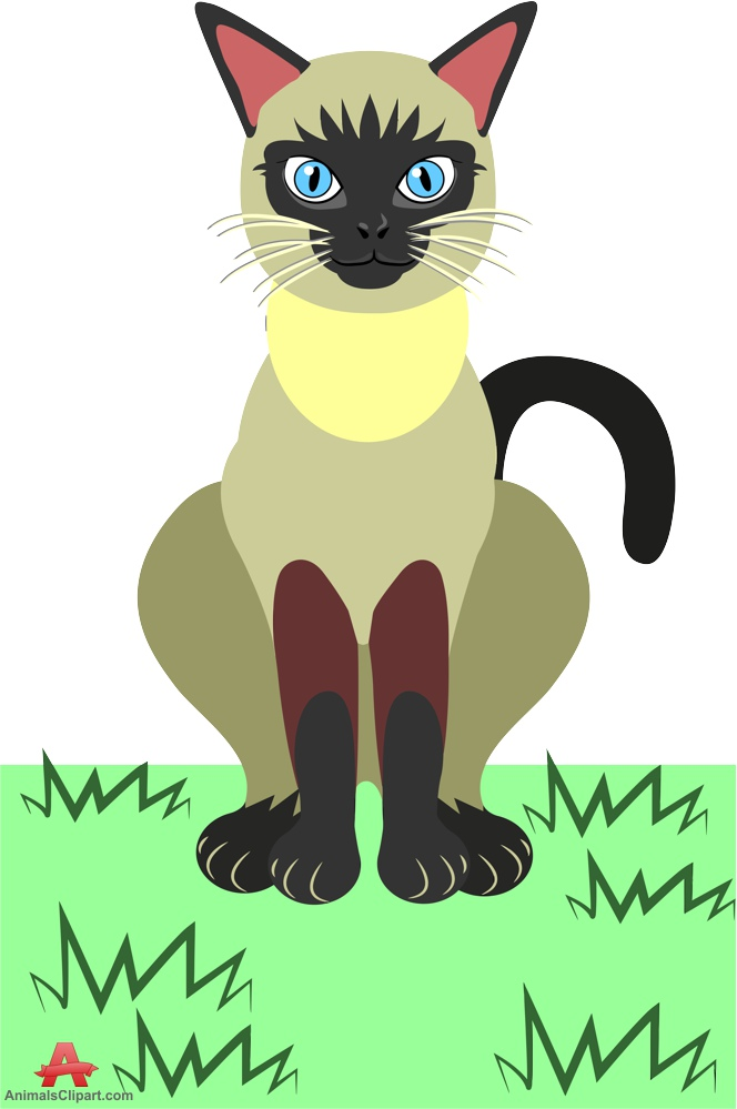 Cat Sitting on Grass Clipart.