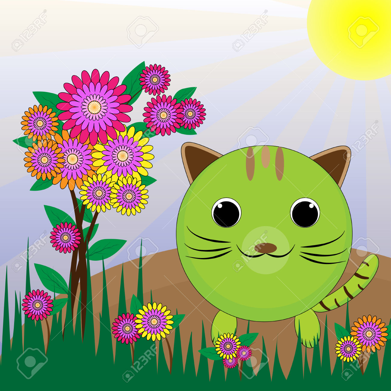 Cat In The Garden Amid The Fresh Air Flower Garden And Save World.