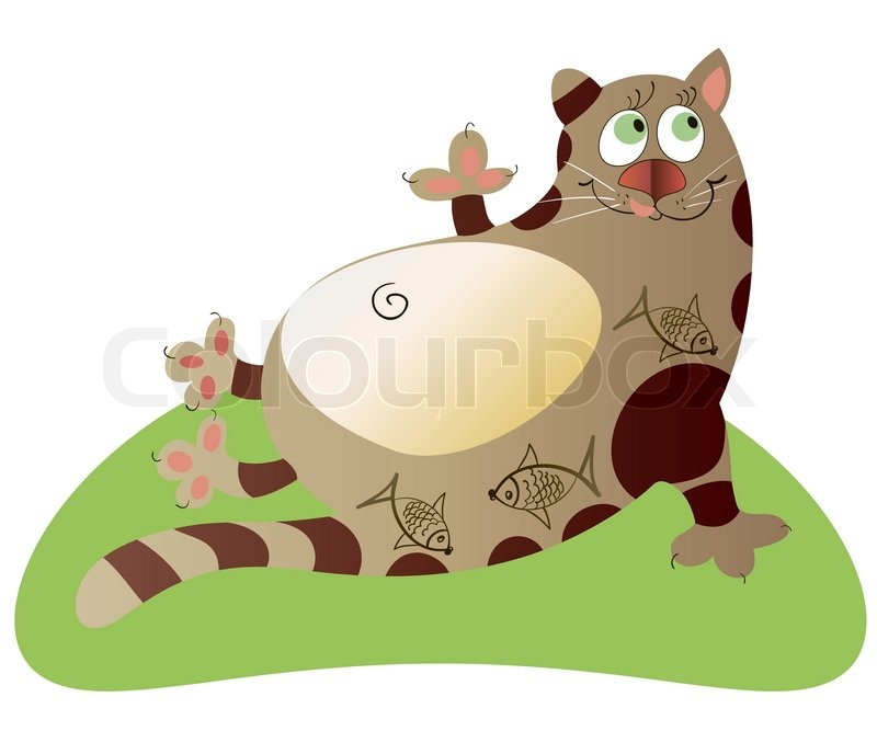 The fat cat on the grass.