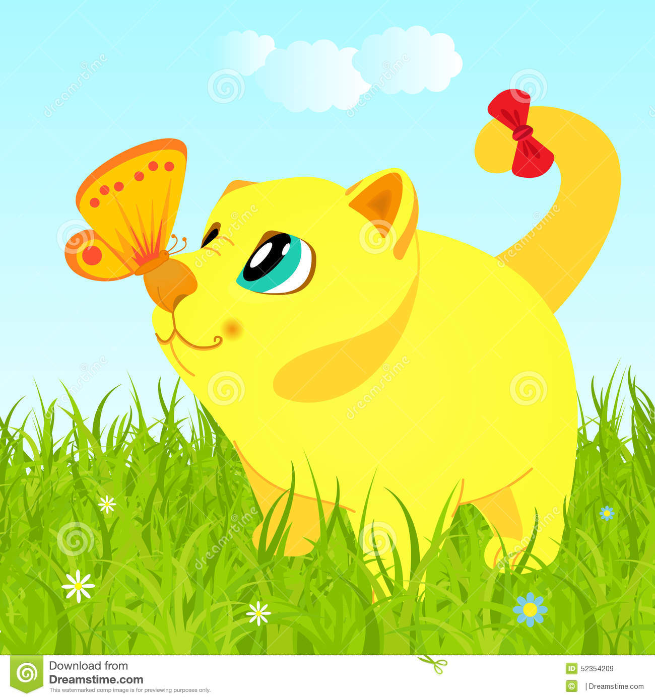 Cat On The Grass Looking At The Butterfly Stock Vector.