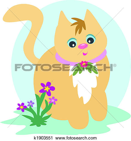Clipart of Cat on the Grass k1903551.