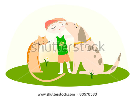 Cat Dog Grass Stock Photos, Royalty.