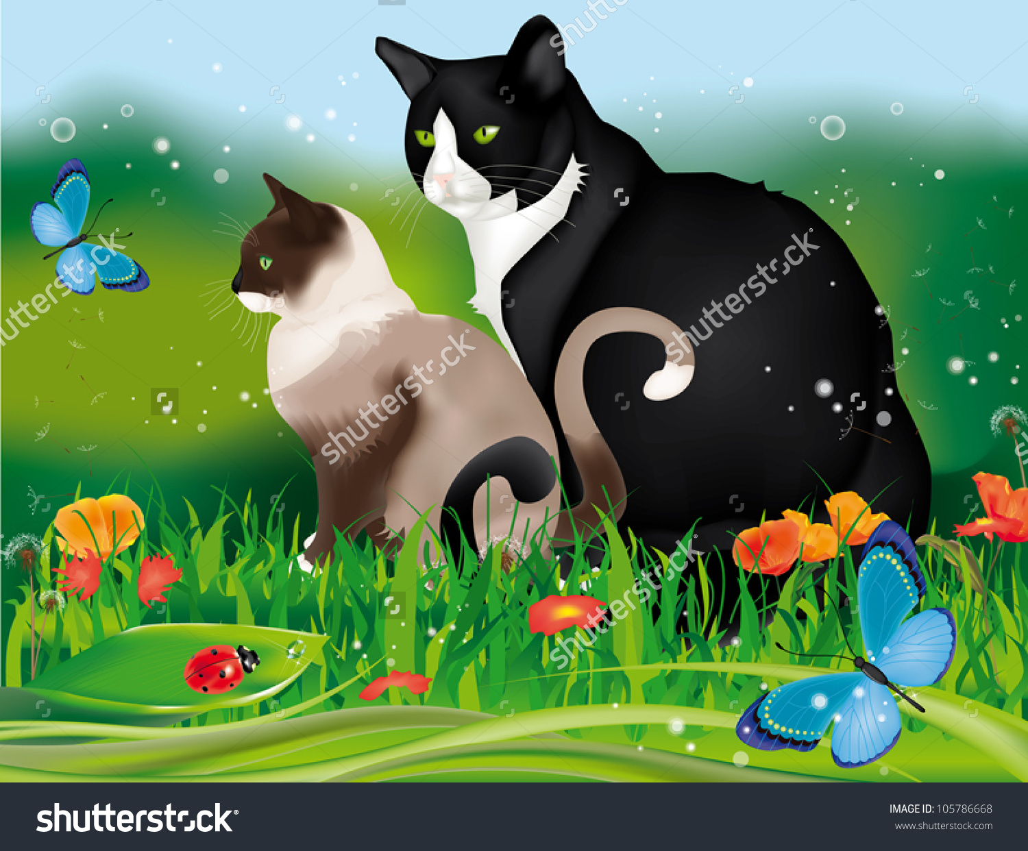 Lovely Two Cats In The Garden Among Grass, Flowers, Ladybug And.