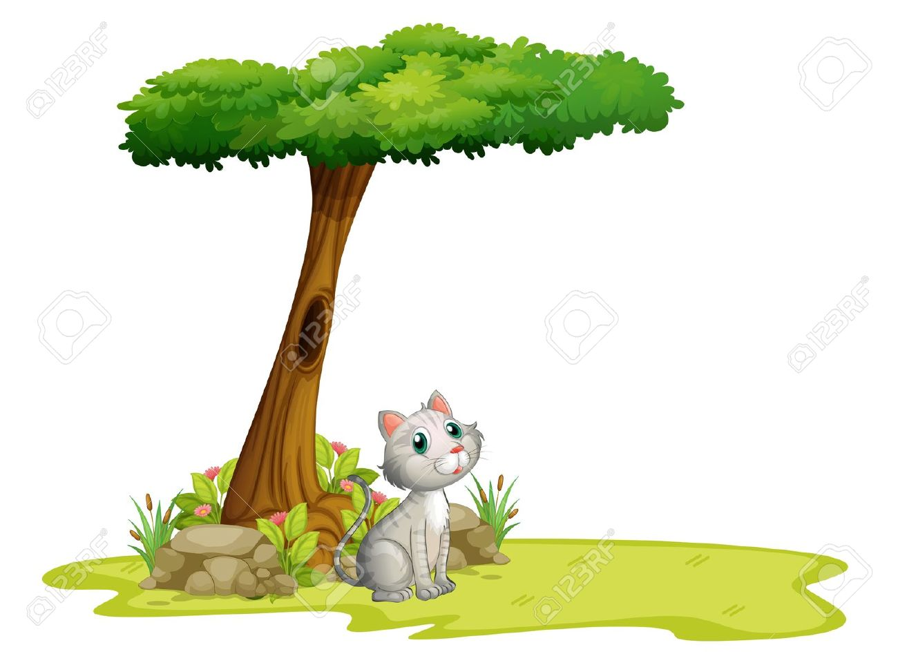 Illustration Of A Cat Under A Tree On A White Background Royalty.
