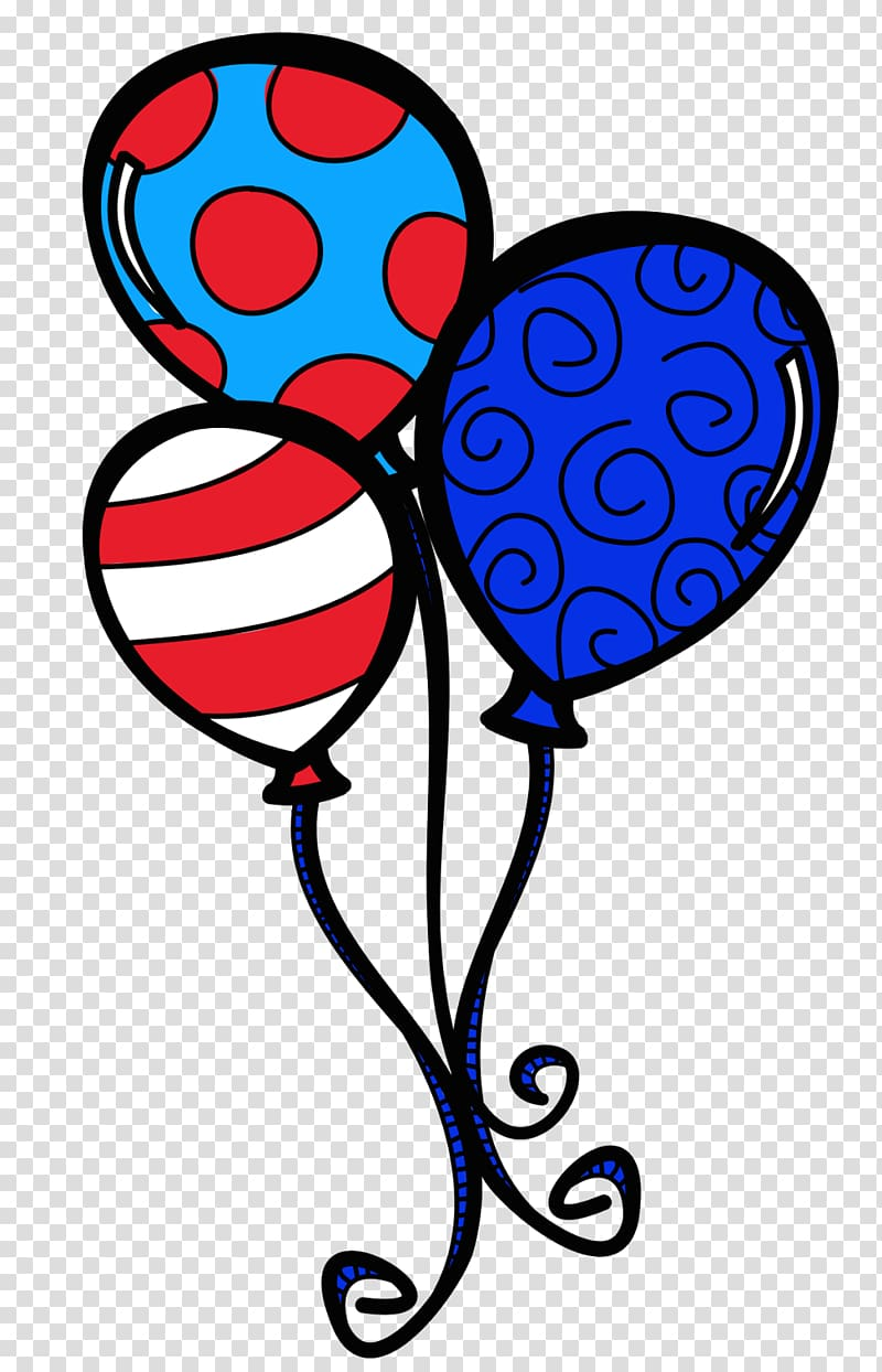 Blue, red, and white balloons , The Cat in the Hat Balloon.