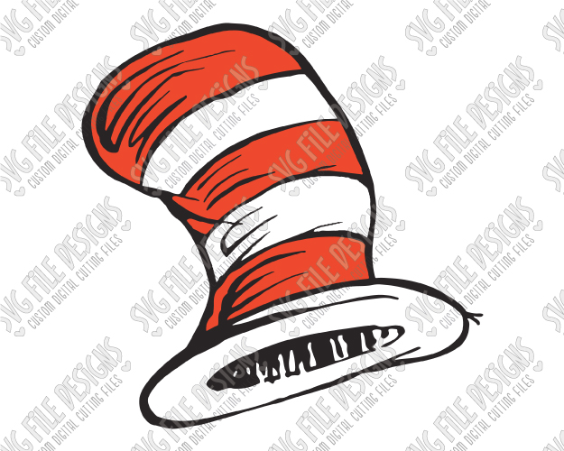 Dr. Seuss Cat In The Hat Cut File Set in SVG, EPS, DXF, JPEG, and PNG.