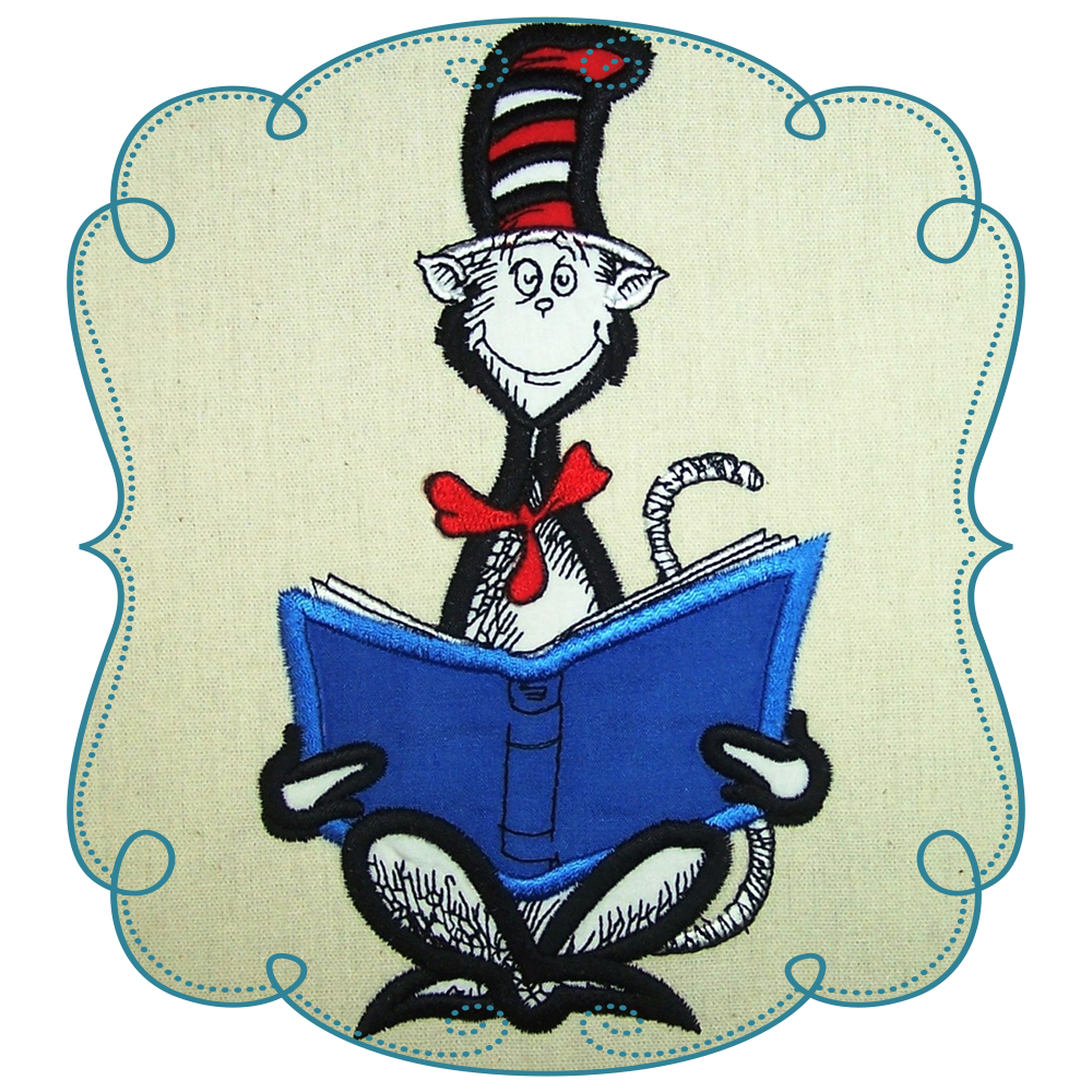 Dr Seuss Cat In The Hat Reading Book Applique.