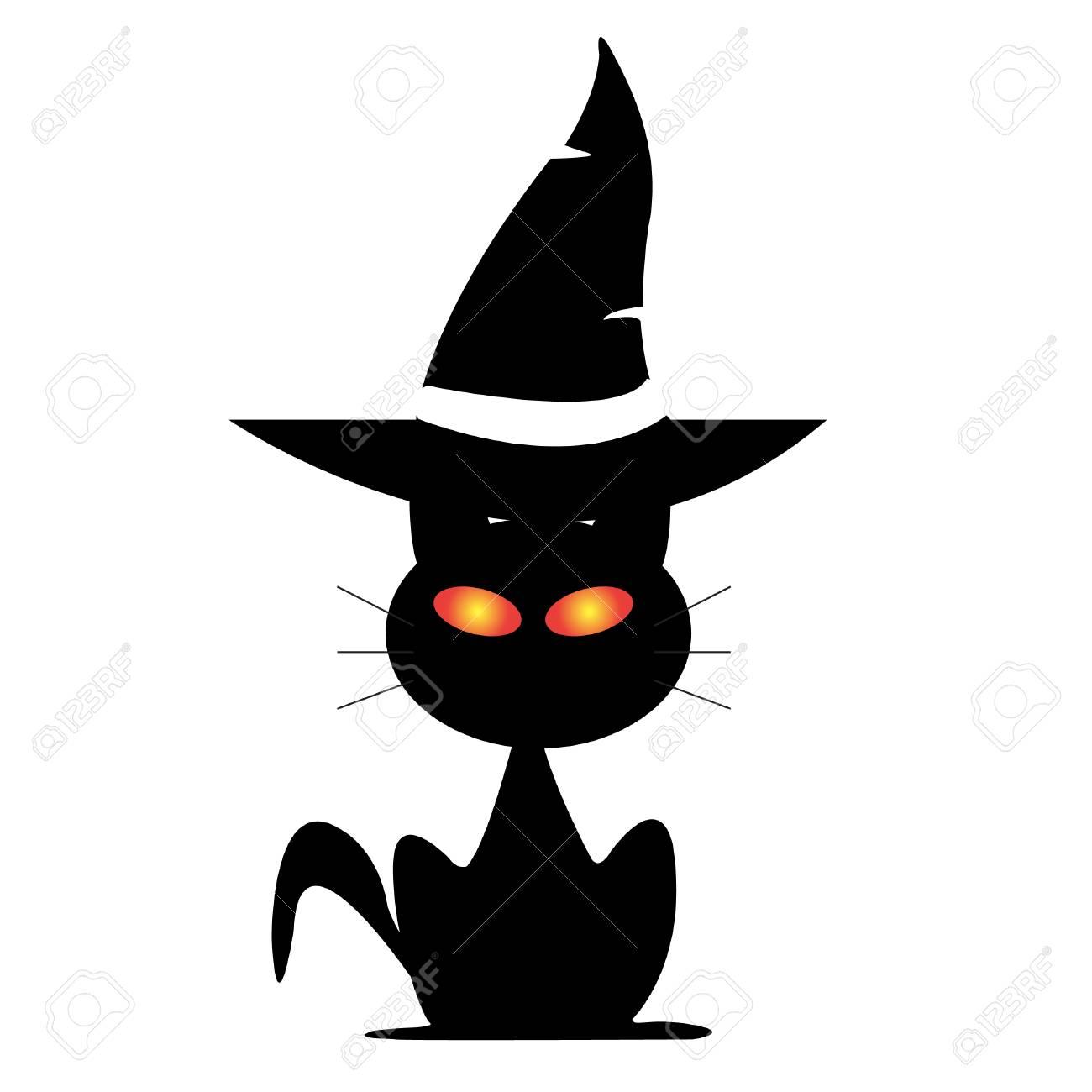 Halloween cat under witch's hat vector.
