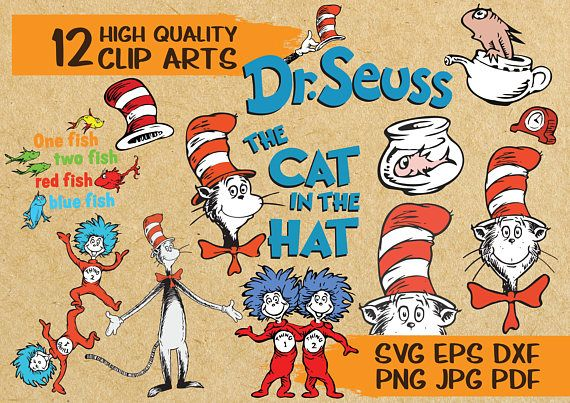 12 Dr. Seuss Cat in the Hat Clip Arts.
