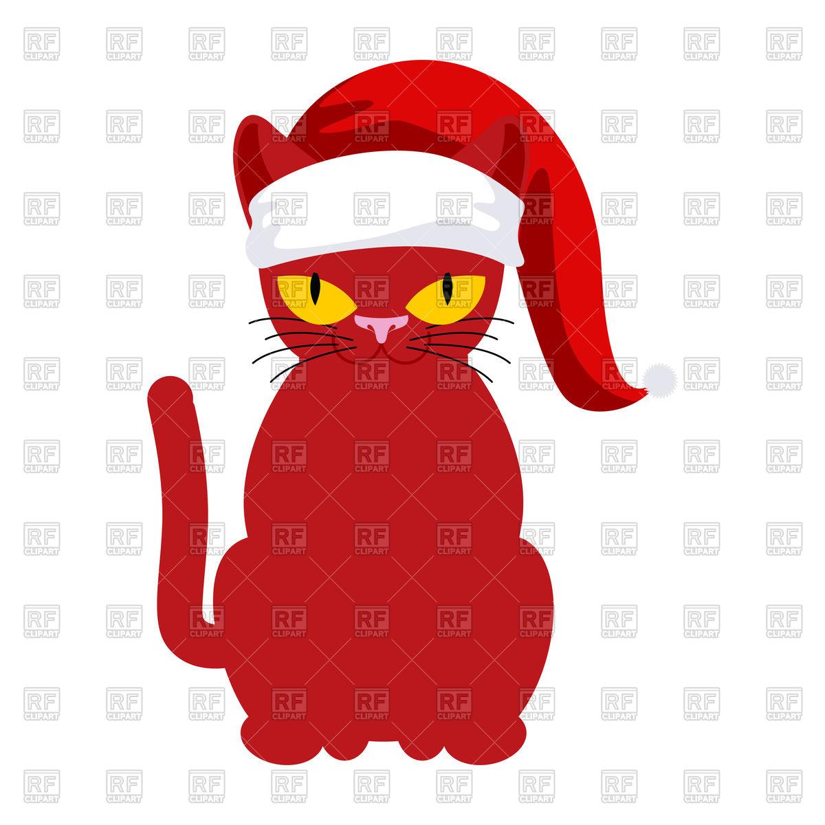 Red cat in santa hat on white Stock Vector Image.
