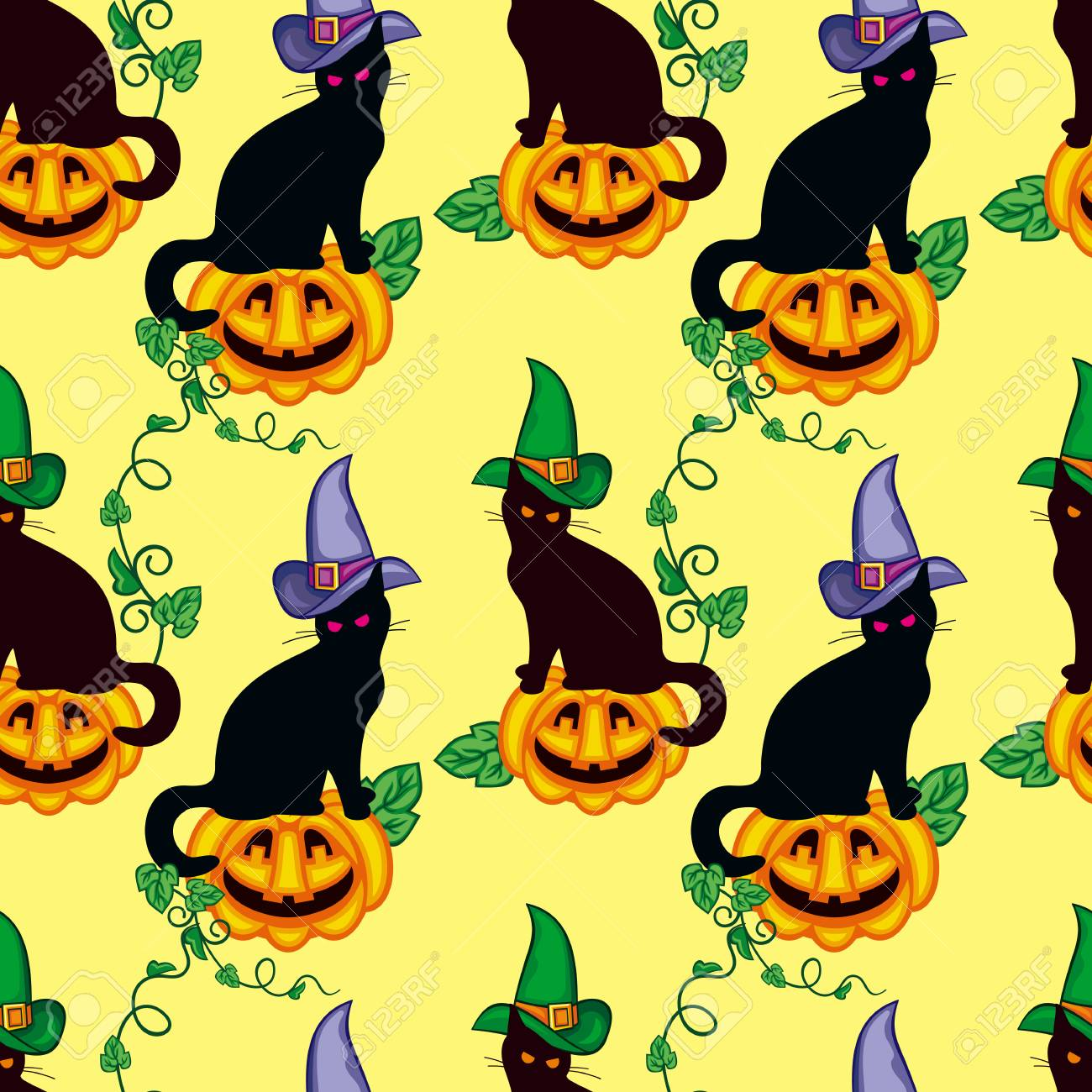 Seamless pattern with black cat in witch hat. Vector clip art..