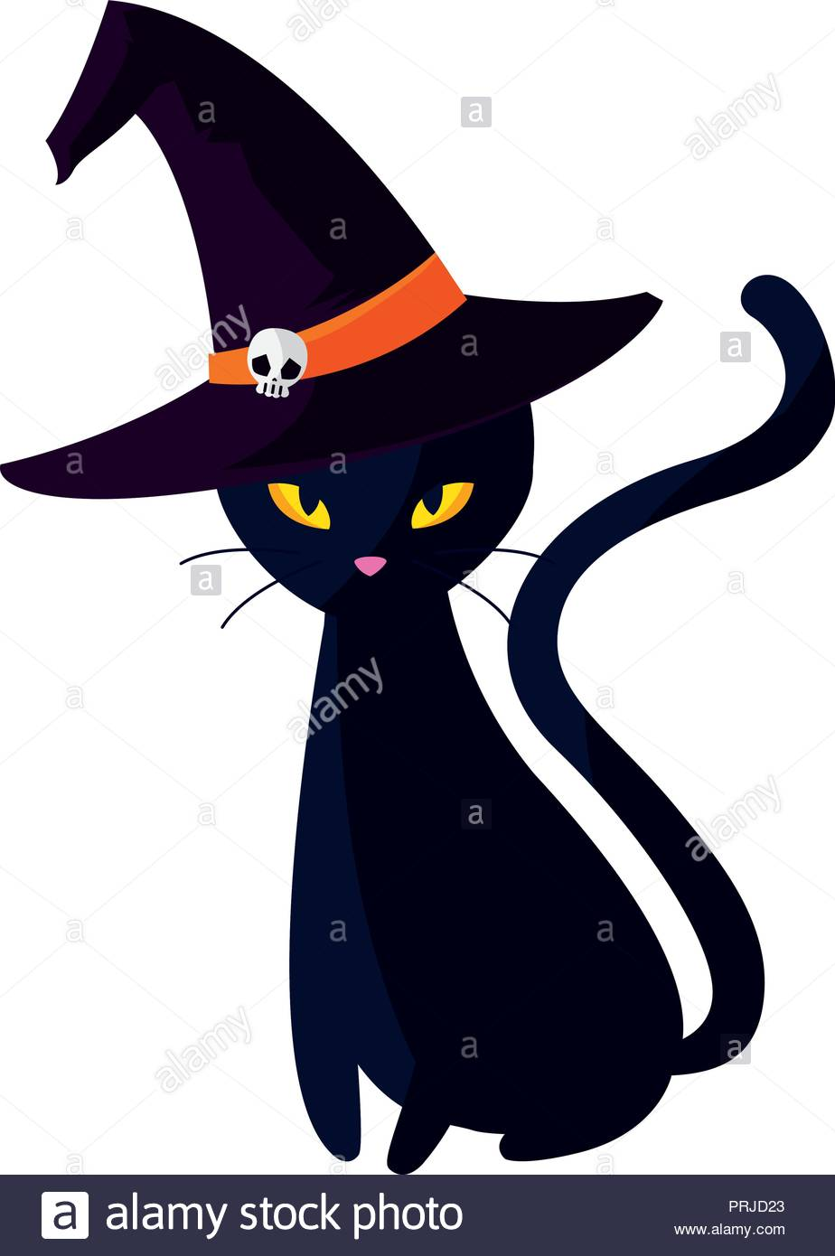 halloween black cat with witch hat vector illustration design Stock.