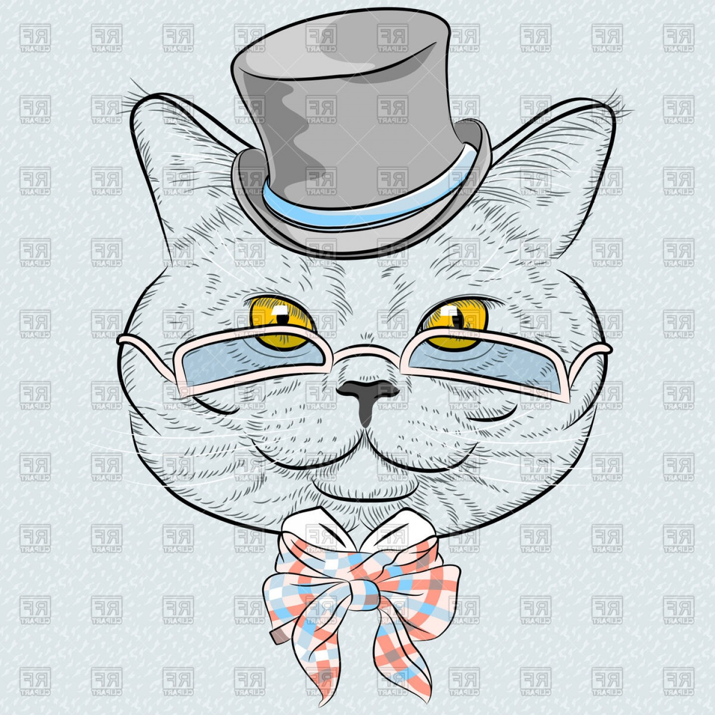 Sketchy Portrait Of Funny British Cat In Top Hat Eyeglasses And.