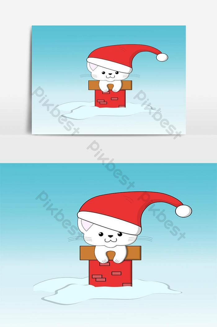 Christmas cat wearing santa hat clipart vector graphic.