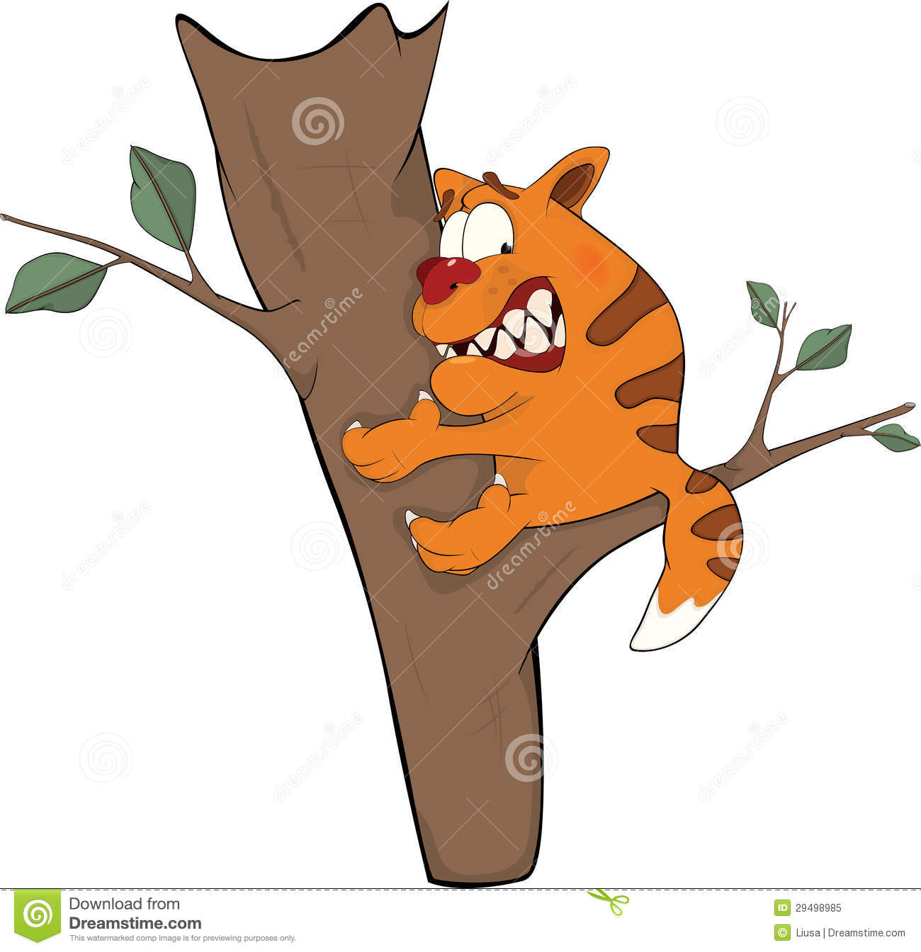 Cat in a tree clipart.