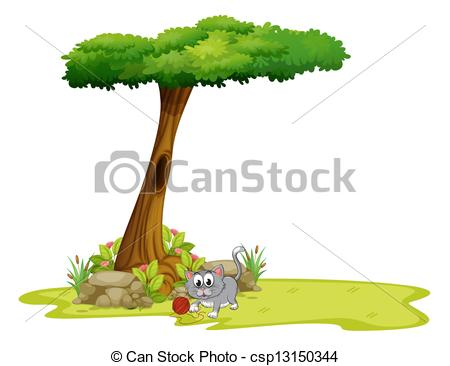 EPS Vector of A gray cat under a tree with a hole.